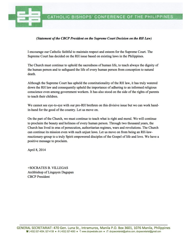 Statement of the CBCP President on the Supreme Court Decision on the RH Law